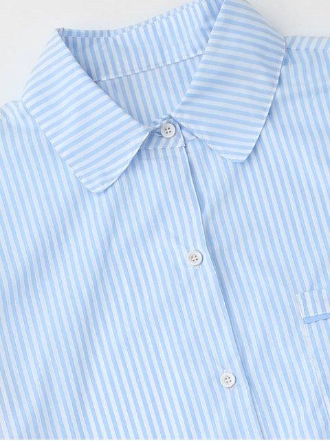 women Striped Pocket Shirt with Shorts Loungewear - STRIPE M Mobile