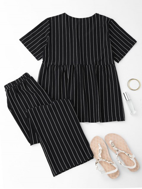 hot Cactus Striped Top with Pants Loungewear - BLACK S Mobile