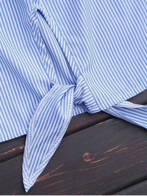 latest Off Shoulder Striped Knot Hem Floral Top - BLUE STRIPE XL Mobile