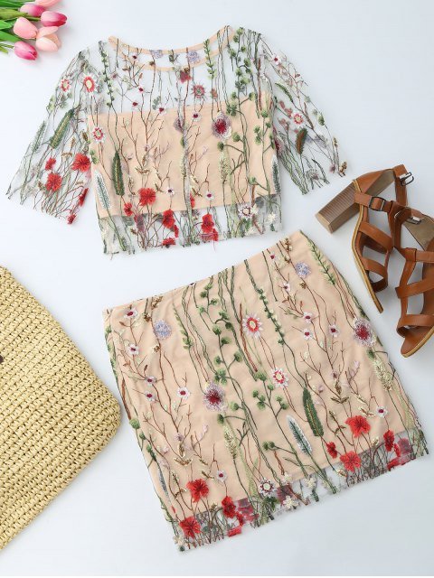 top See Through en broderie à motif floral et A ligne mini jupe - Floral L Mobile