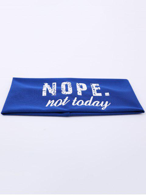 fancy Athletic Letters Printing Elastic Wide Headband - BLUE  Mobile