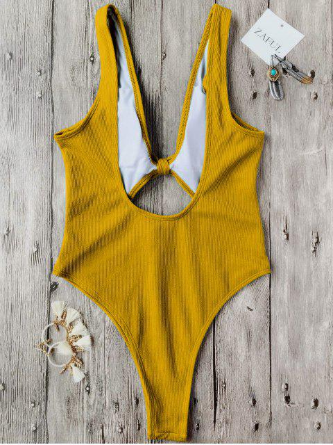 hot Bowknot Textured High Cut One Piece Swimsuit - MUSTARD S Mobile