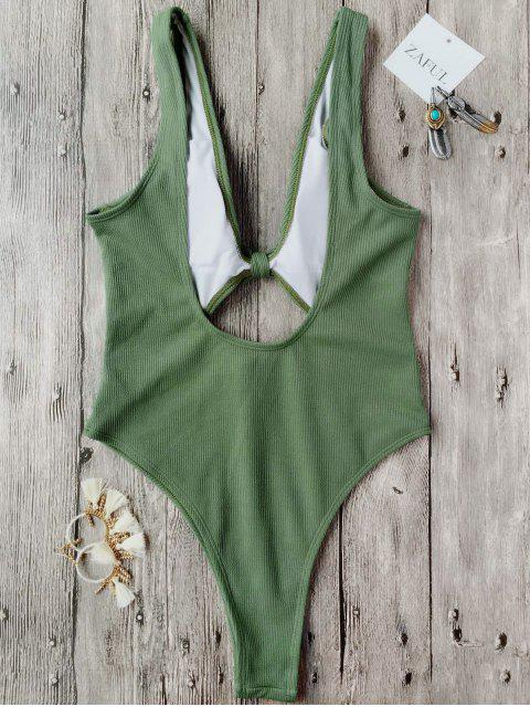 ladies Bowknot Textured High Cut One Piece Swimsuit - GREEN L Mobile