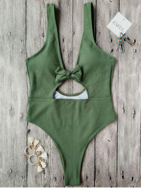 lady Bowknot Textured High Cut One Piece Swimsuit - GREEN M Mobile