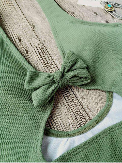 Maillots de bain une-pièce texturé découpé haut avec nœud papillon - Vert S Mobile