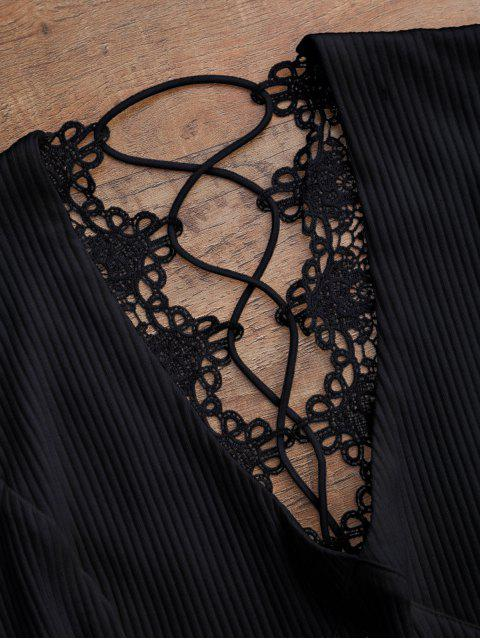 hot Crochet Panel Plunge Lace Up Cropped Cover Up - BLACK S Mobile