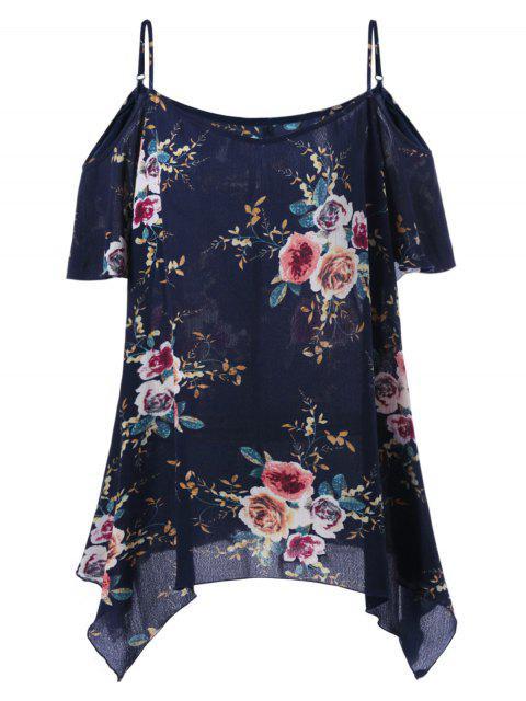 ladies Plus Size Dew Shoulder Tiny Floral Blouse - BLACK BLUE 2XL Mobile