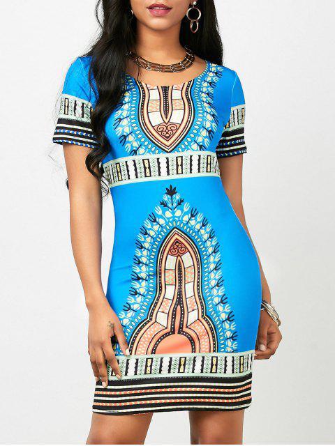 Vestido corto Bodycon de Dashiki (impresión al azar) - Azul Claro L Mobile