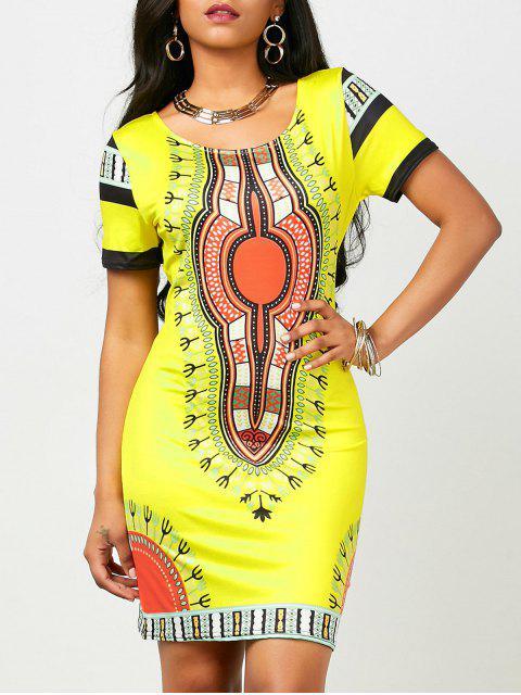 Vestido corto Bodycon de Dashiki (impresión al azar) - Amarillo M Mobile