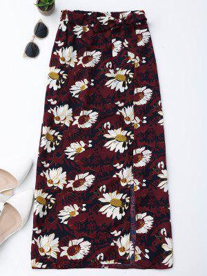 Falda Con Flecos Laterales Florales - Vino Rojo S