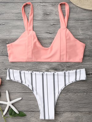 Padded Striped Bralette Bikini Set - Orangepink L