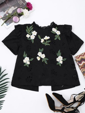 Embroidered Back Bowknot Cut Out Top - Black S