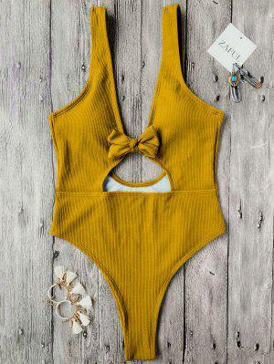 Bowknot Textured High Cut One Piece Swimsuit - Mustard M