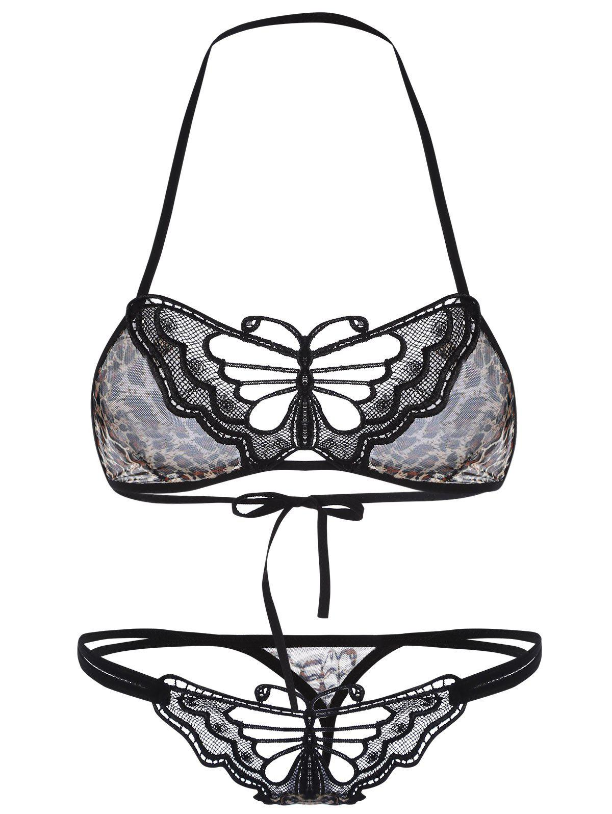 Halter Butterfly Leopard String Bra and Thong Set 212903401