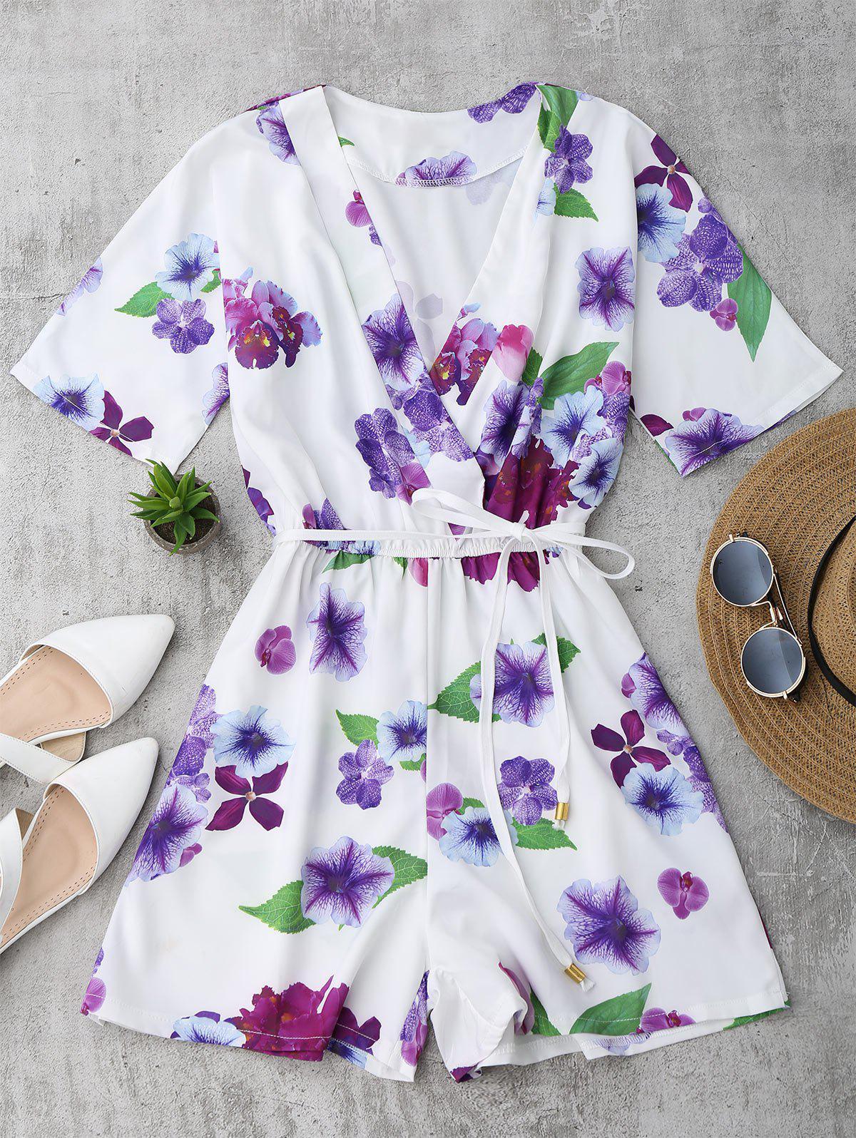 Floral Surplice Romper 213067701