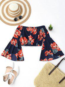Off Shoulder Floral Flare Sleeve Crop Top - S