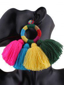 Boucles D'oreilles Ethniques Avec Cercle Et Frange - Multicouleur