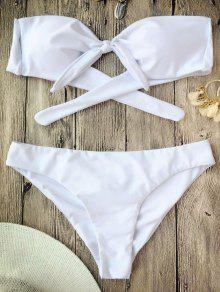 Ruched Knotted Bandeau Bikini Set - White S