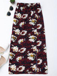 Floral Tie Side Slit Skirt - Wine Red L