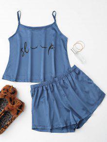 Cute Satin Printed Cami Loungewear Suit - Blue L