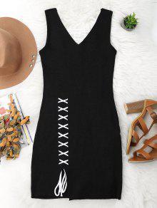 Lace Up Cut Hem Bodycon Knit Dress - Black