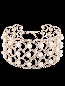 Collar De Aleación De Perlas De Imitación Rhinestoned - Dorado