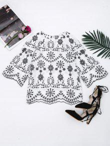 Flare Sleeve Embroidered Cut Out Blouse - White S