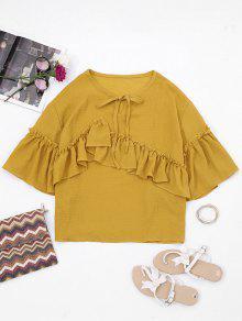 Keyhole Flare Sleeve Ruffles Blouse - Yellow