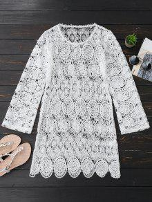 Sheer Lace Long Sleeve Beach Dress