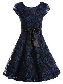 فستان متزلج دانتيل قصيرة الأكمام مربوط - الأرجواني الأزرق Xl