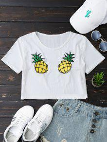 Pineapple Embroidered Cropped Top - White M