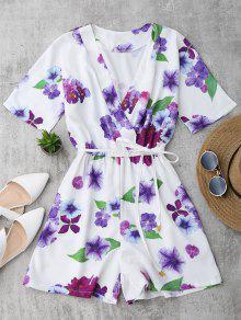 Floral Surplice Romper - White M