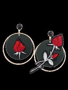 Boucles D'oreilles à Pendentif De Cercle Avec Broderie Florale - Rouge