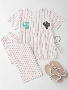 Cactus Striped Top With Pants Loungewear - White M