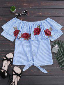 Off Shoulder Striped Knot Hem Floral Top - Blue Stripe Xl