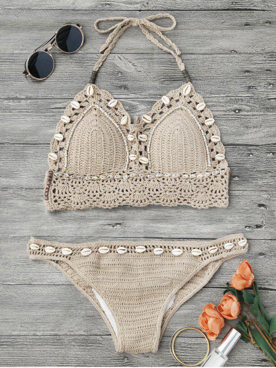 Bikini en crochet perlé de coquillages - Kaki Clair M