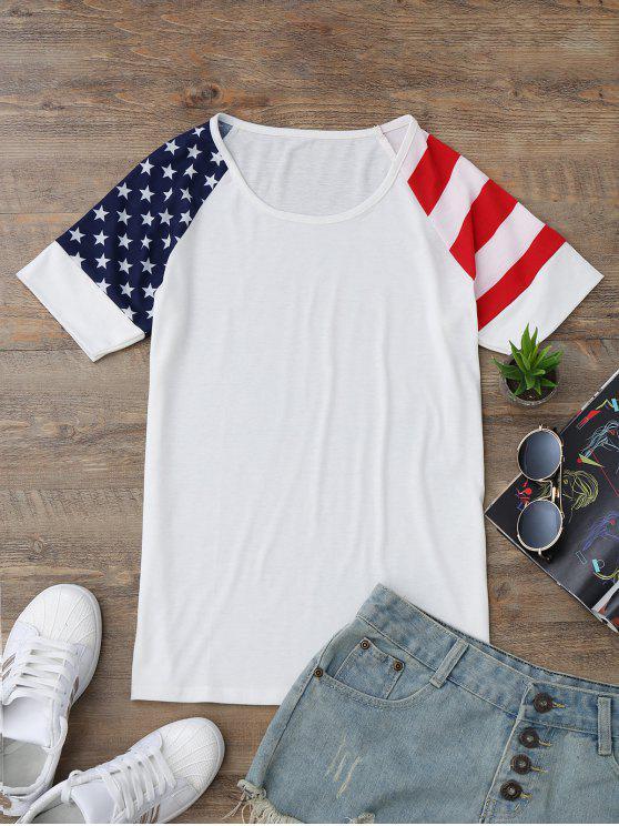 تي شيرت راجلان الأكمام وطني علم أمريكي - أبيض M