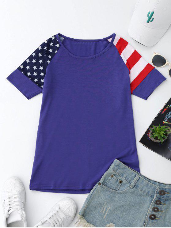 T-shirt Imprimé Drapeau Américain Manches Raglan - Bleu S