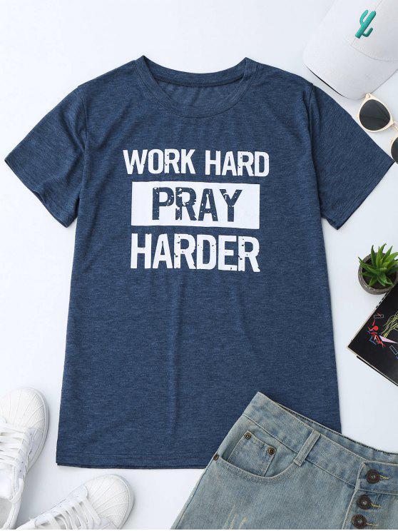 Camiseta del gráfico de la impresión del lema del cuello de equipo - Azul L