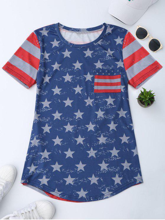 T-shirt patriótico da bandeira de América do bolso - Azul L