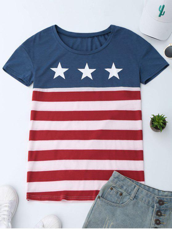 T-Shirt Imprimé Drapeau Américain - Multicolore M