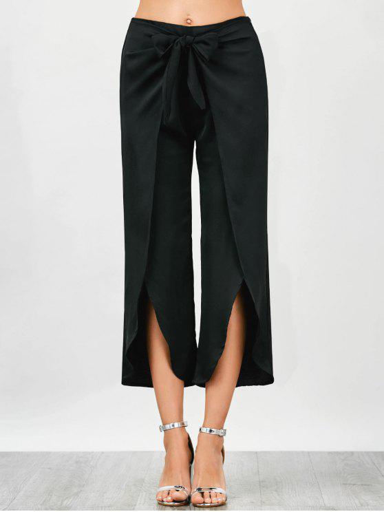 ladies Wrap Slit Bowknot Pants - BLACK XS