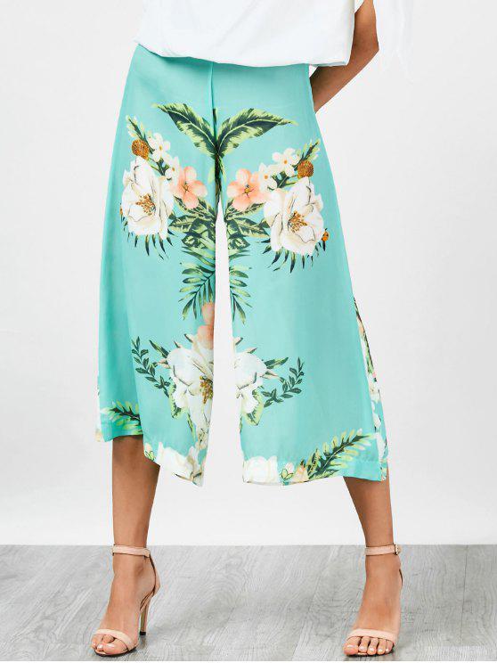 Pantalons florals en mousseline de soie taille haute jambe large - Floral S