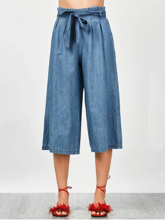 shop Tencel Bowknot Wide Leng Capri Pants - DENIM BLUE M