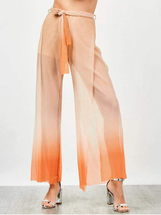 fashion Surplice Slit Shiny Wide Leg Pants - ORANGE S