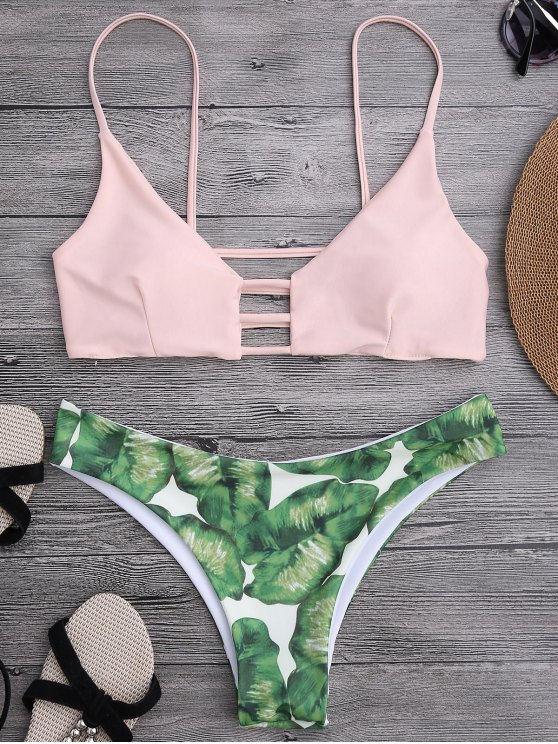 best Ladder Cut Palm Tree Print Bikini - SHALLOW PINK S