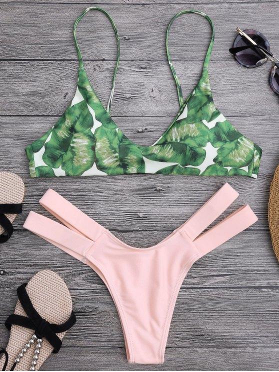 new Palm Tree Bikini Top and Bandage Swim Bottoms - SHALLOW PINK M