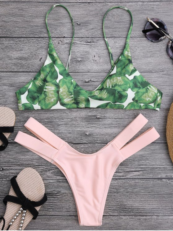 hot Palm Tree Bikini Top and Bandage Swim Bottoms - SHALLOW PINK S