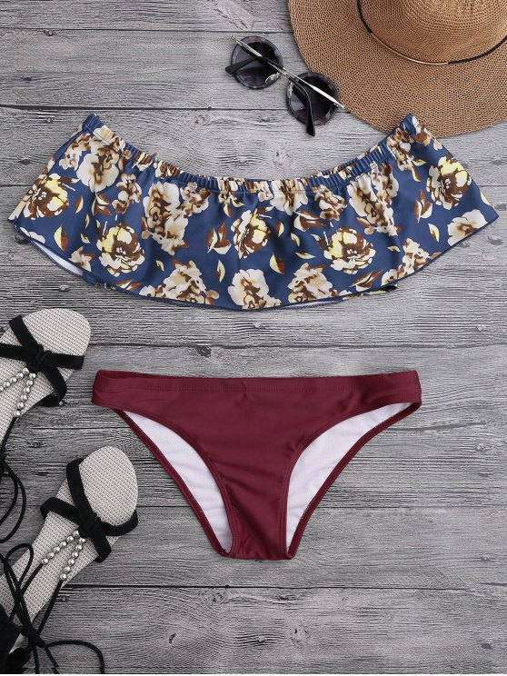 outfits Off The Shoulder Overlay Floral Bikini - BURGUNDY M