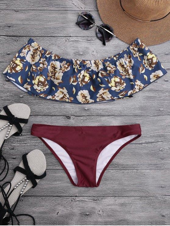 Bikini floral épaules dénudées avec superposition - Bourgogne S